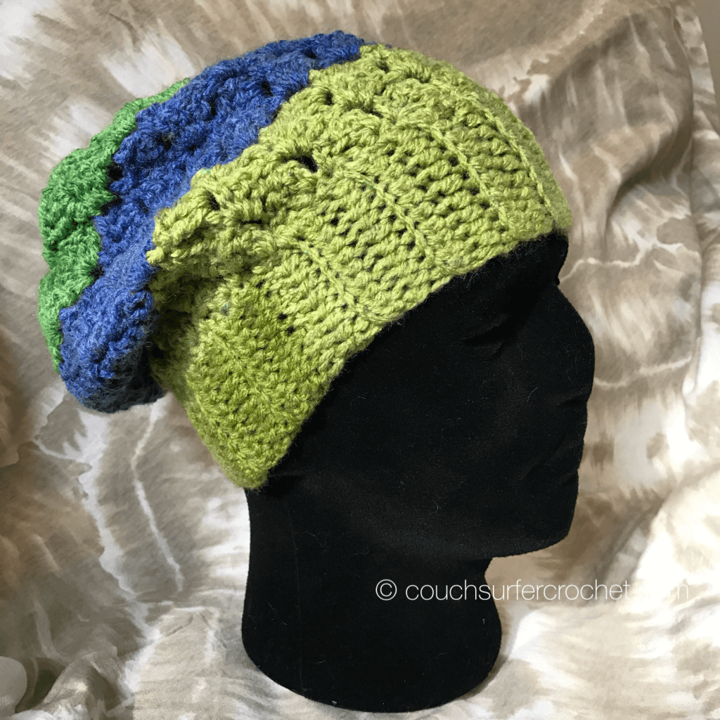 slouchy hat crochet pattern side saddle stitch